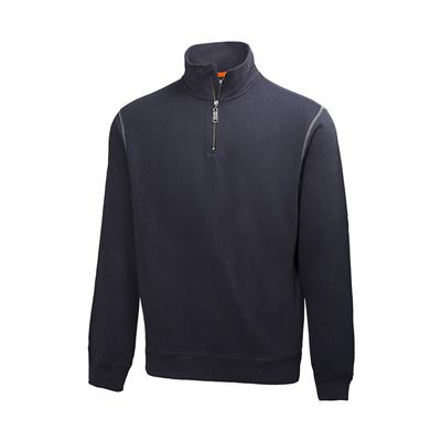 Sweatshirt 'Oxford' met halve rits (Navy)